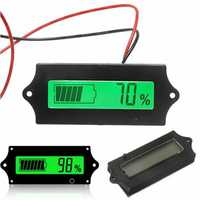 GY-6A Y6A 12V 24V 36V 48V Lead Acid Battery 2-15S Lithium Battery Universal Adjustable 6-63V Green Screen Waterproof LCD Capacity Display Board Indicator Digital Voltmeter With Switch