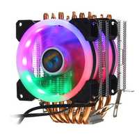 Aurora Colorful Backlit 3Pin 2 Fans 6 Copper Tube Dual Tower CPU Cooling Fan Cooler Heatsink for Intel AMD