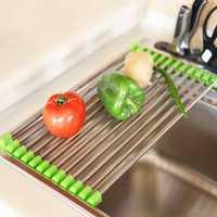Stainless Steel Roll Draining Rack Fruit Vegetable Drain Shelf Multifunctional Shelf