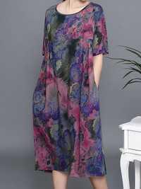 Plus Size Floral Print Short Sleeve Elegant Dress