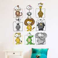 9PCS DIY Animal Waterproof Wall Stickers For Room Decorating