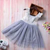 Girls Lace Patchwork Layered Dress for 4Y-12Y