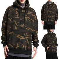Winter Men Camouflage Hooded Warm Sweatshirt Jumper Hoodie Top Outwear