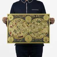 Oude Wereld Poster Zodiac Constellation Kaart Behang Vintage Retro Kraftpapier Poster Home Decor