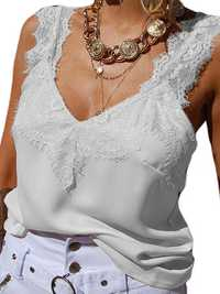 Women Lace Strap Casual Clubwear V-neck Vest
