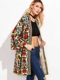 Tribal Printed Embroidered 3/4 Sleeve Long Cardigans