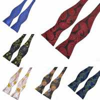 PenSee Mens Male Self Bow Ties Pattern Paisley Jacquard Woven Silk Neckties Accessory