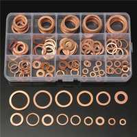 150Pcs Solid Copper Washers Sump Plug Assorted Washer Set Plastic Box 15 Sizes