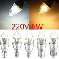 E27/E14/E12/B22/B15 6W LED Warm White/White 25SMD 2835 Silver Candle Light Bulb Lamp 220V