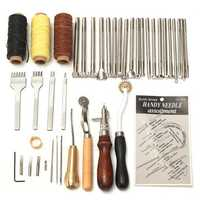 48 Pcs Leather Craft Tools Kit Hand Sewing Stitching Punch Carving Work Saddle