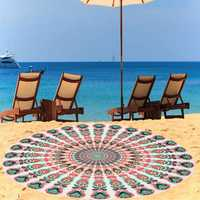 140cm Thin Chiffon Bohemia Round Beach Yoga Towel Mandala Bed Sheet Tapestry Tablecloth Decor