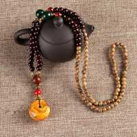 Unisex Ethnic Vintage Gourd Beeswax Turquoise Bead Necklace