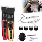 Offres Flash USB Charging Non-waterproof LCD Hair Clipper With 4 Push Heads 1 Flat Shears 1 Tooth Shears 1 Haircut Cloth