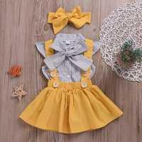Polka Dot Girls Top + Bow + Dress Three-Piece Set for 2Y-5Y
