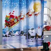180x180cm Santa Flight Waterproof Shower Curtain Bathroom Christmas Decor with 12 Hooks