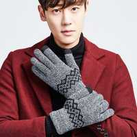 Men Warm Thick Knit Touch Screen Gloves