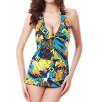 SWIMMART Floral Printing Halter Backless Plunge Wireless Stretchy Two Pieces Tankinis
