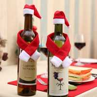Christmas Santa Clothing Hat Scarf Wine Bottle Cap Cover Gift Decoration Christmas Hats