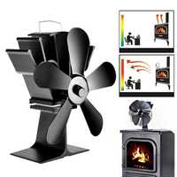 8.8inch 5 Blades Fireplace Fan Wood Burner Stove Thermal Heat Power Fan