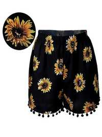 Women Elastic High Waist Sunflower Printed Shorts Casual Beach Shorts
