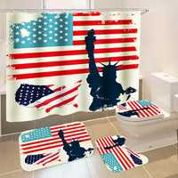 American Flag Bathroom Shower Curtain Non-Slip Rug Toilet Lid Cover Bath Mat with 12 Ring