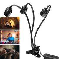 AC220V 3 Heads Flexible E27 Clip On Desk Light Lamp Stand Holder Gooseneck Bulb Adapter US Plug