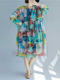 Women Patchwork Art Printed Loose Chiffon Dress
