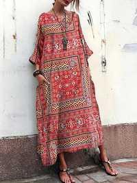 Vintage Floral Print Crew Neck Loose Baggy Maxi Dress