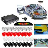 4 Front & 4 Rear LCD Display Monitor Reverse View Backup Parking 8 Car Sensor Buzzer Alarm Detector System