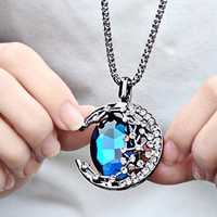 Vintage Crystal Pendant Necklace Moon Oval Sapphire Chain