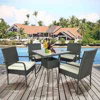 Hammock Chair Garden Furniture Outdoor Table Chair 5 PCS Cushioned Outdoor Wicker Patio Set Garden Lawn Rattan Sofa Furniture Conversation Set