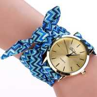 DUOYA Brand Retro Folk Custom Ear Cloth Strap Casual Ladies Wrist Watch Analog Women Quartz Watch
