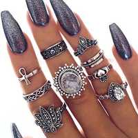 9Pcs Bohemian Statement Ring Sets Vintage Geometric Sun Star