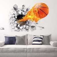 Fashion 3D Basketball Wall Sticker Green Poster Art Stickers Kids Rooms Home Decoration Accessories Decor Removable Waterproof Home Wall DIY Decor Basketball Wall Sticker