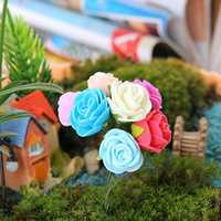 Miniature Rose Ornaments Potted Plant Craft Garden Bonsai DIY Decor