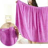Women Soft Quickly Absorbent Microfiber Cozy Lovely Spa Bathrobe Bath Towel With Snap Closure