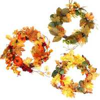 Thanksgiving Fall Harvest Wreath Maple Leaf Leaves Wreath Garland with Light Strip Home Decorations