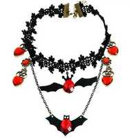 Gothic Black Lace Choker Red Heart Drop Zircon Necklace Halloween Jewelry