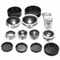 8-in-1 Fisheye Wide Angle Macro CPL Lens Black kit for Universal Cell Phone
