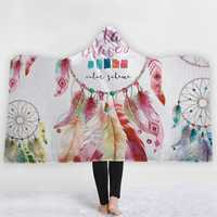 Bohemia Style Blankets Dream Catcher Watercolor Painting Hooded Blankets Warm Coral Fleece Sherpa Fabric Feather Drawing Throw Blankets
