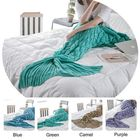 Meilleurs prix Honana WX-39 90x190cm Yarn Knitting Mermaid Tail Blanket Fish Scales Style Super Soft Sleep Bag Bed Mat