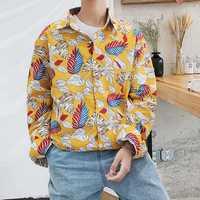 Mens Long Sleeve Korean Style Vintage Printing Casual Shirts