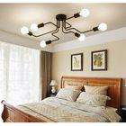 Meilleurs prix Vintage Industrial Edison 6Lights Barn Metal Flush Mount Ceiling Lights