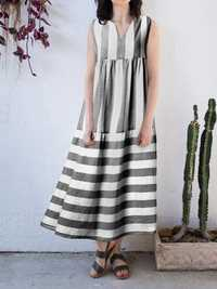 Women Stripe V-neck Sleeveless Pleated Loose Dress