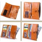 Meilleurs prix Women Oil Genuine Leather Luxury Long Wallet Hasp Purse Card Holder Coin Bags 5.5'' Phone Bags