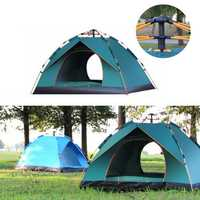 3-4 Person Fully Automatic Tent Waterproof Anti-UV PopUp Tent Outdoor Family Camping Hiking Fishing Tent Sunshade-Sky Blue/Green