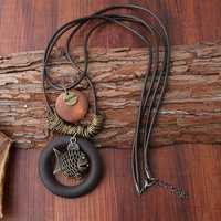 Vintage Enthic Wood Fish Pendant Necklaces for Women