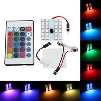 RGB 5050 SMD LED Lights Panel Car Interior T10 Festoon Dome Reading Map Lamp with Remote Control