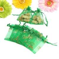 100pcs Green Butterfly Organza Pouch Wedding Birthday Party Drawstring Gift Bag