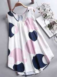 Women Casual Polka Dot Sleeveless Tank Top Blouse